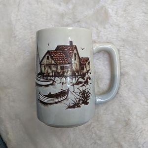 Vintage otagiri Japan fishing village scene mug